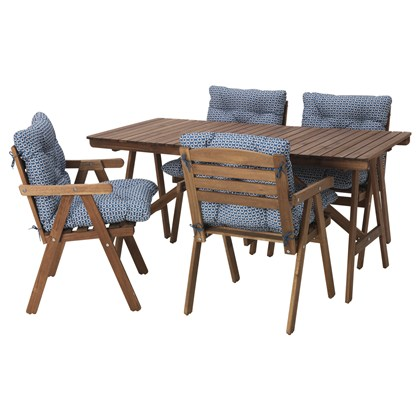 FALHOLMEN Table and 4 armchairs Outdoor, gray-brown, blue