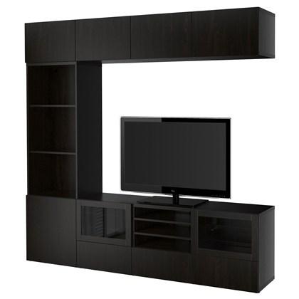 BESTA Storage combination with glass doors Black-brown