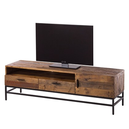GRASBY TV benches Black stained, pine wood, metal frame