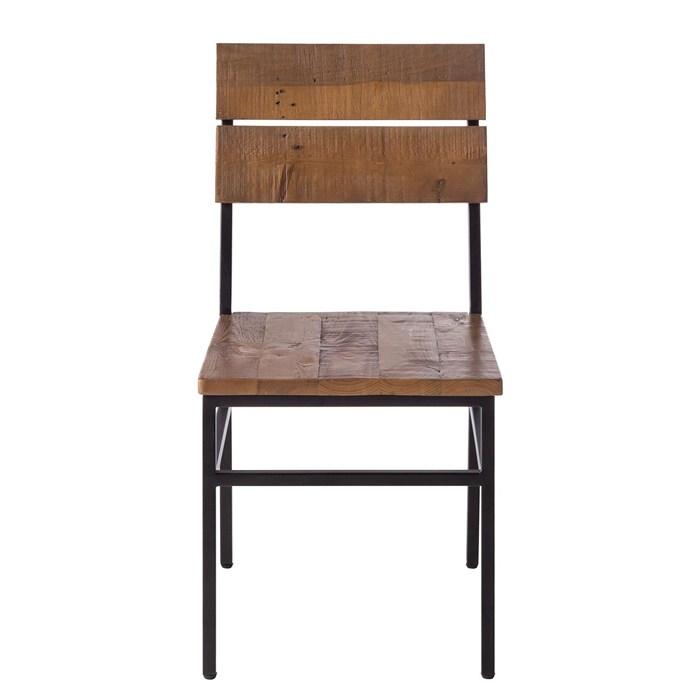 Black-brown, Set of 2, Pine wood, Metal frame