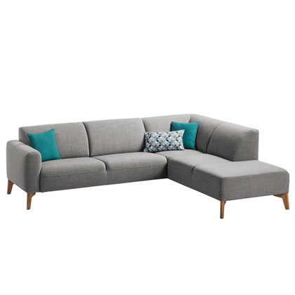 MILAN Corner Sofa Light Gray, Oak legs