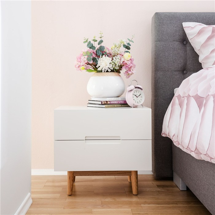 White, 2 drawers