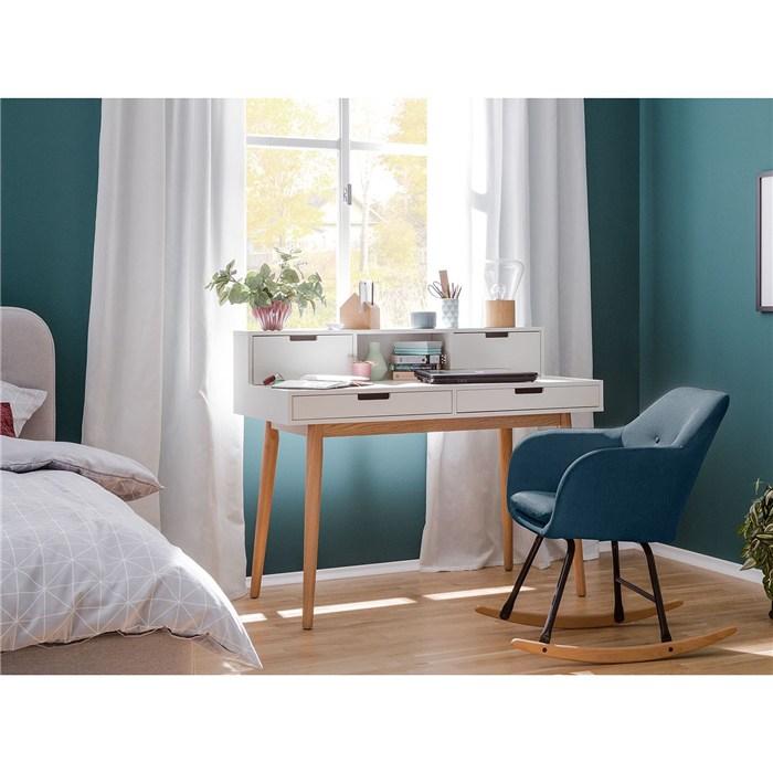 Woven fabric, solid beech, denim blue