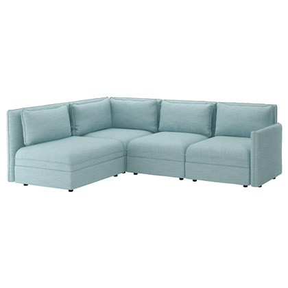 VALLENTUNA Modular corner sofa, 3-seat, with storage