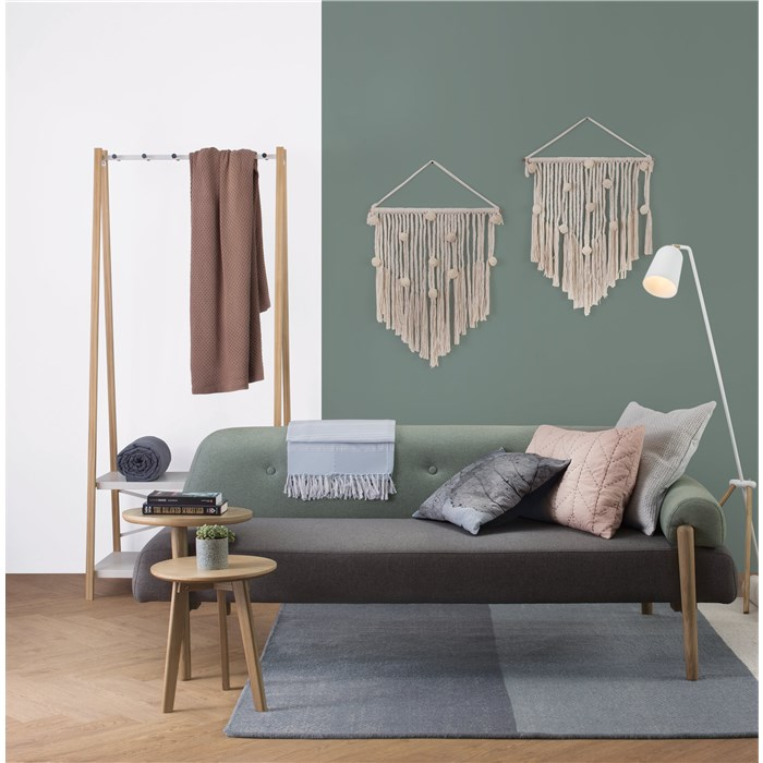 Light green, frame in solid oak wood