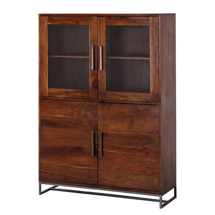 Solid acacia brown, metal frame