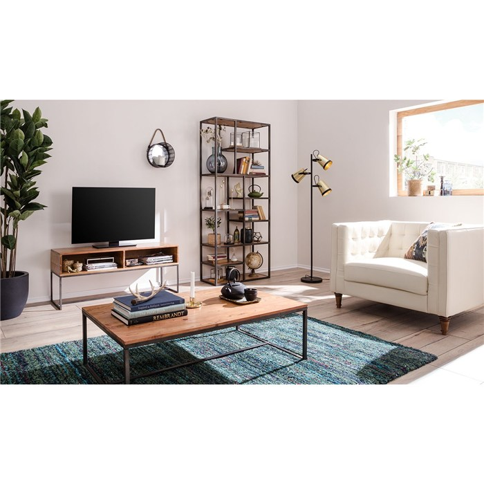 Solid acacia light Gray-brown, metal frame