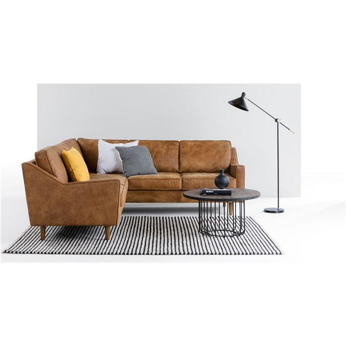 DALLAS corner sofa, premium leather Brown - Leather & faux ...