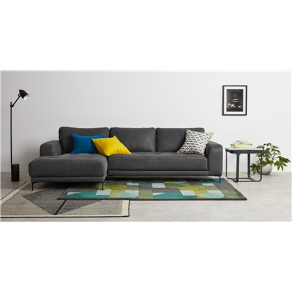 LUCIANO left hand facing corner sofa, leather