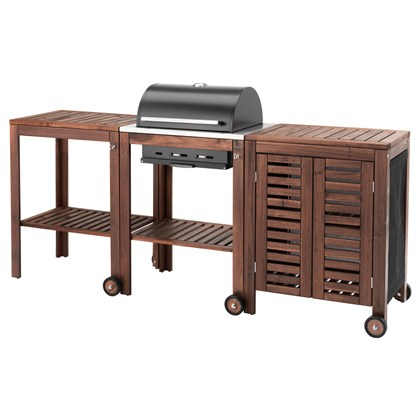APPLARO AND KLASEN charcoal grill with cart & cabinet