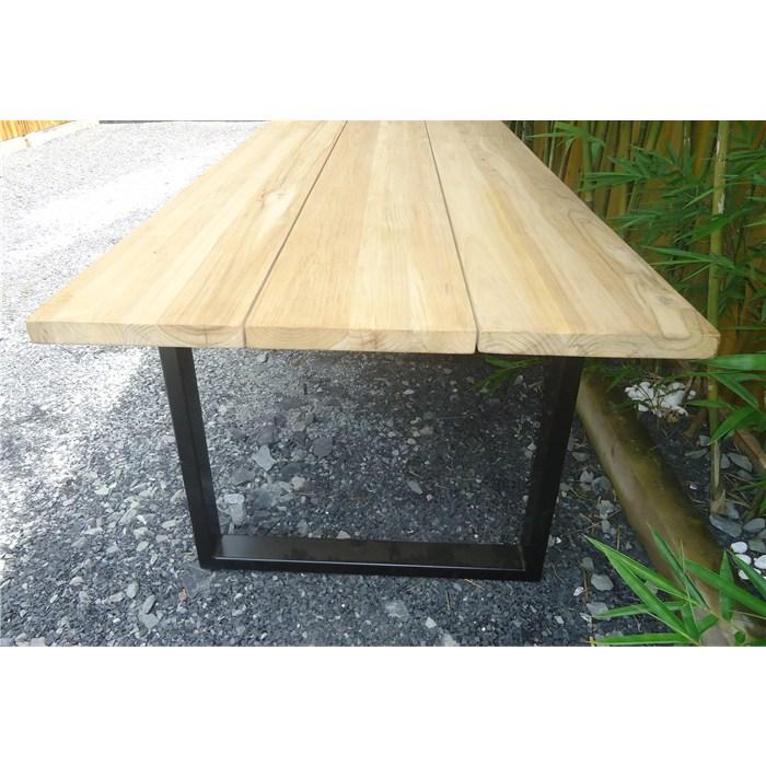 Tabletop in brown color, solid wood teak, frame U leg in black