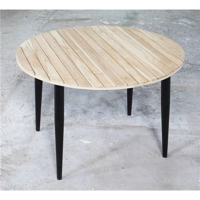 Tabletop in brown color, solid wood teak, matel frame in black
