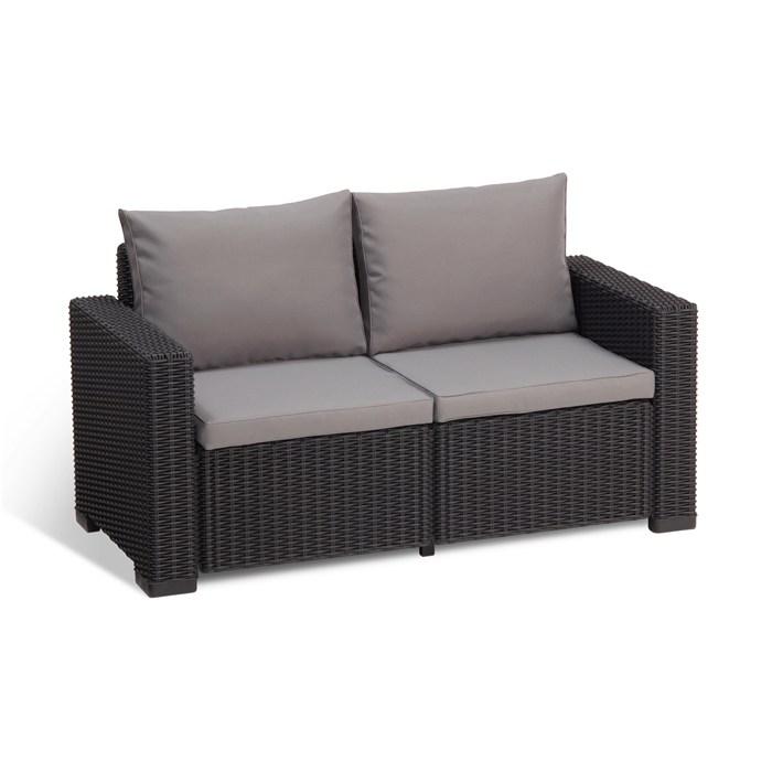 Polyrattan,4 seats sofa, black