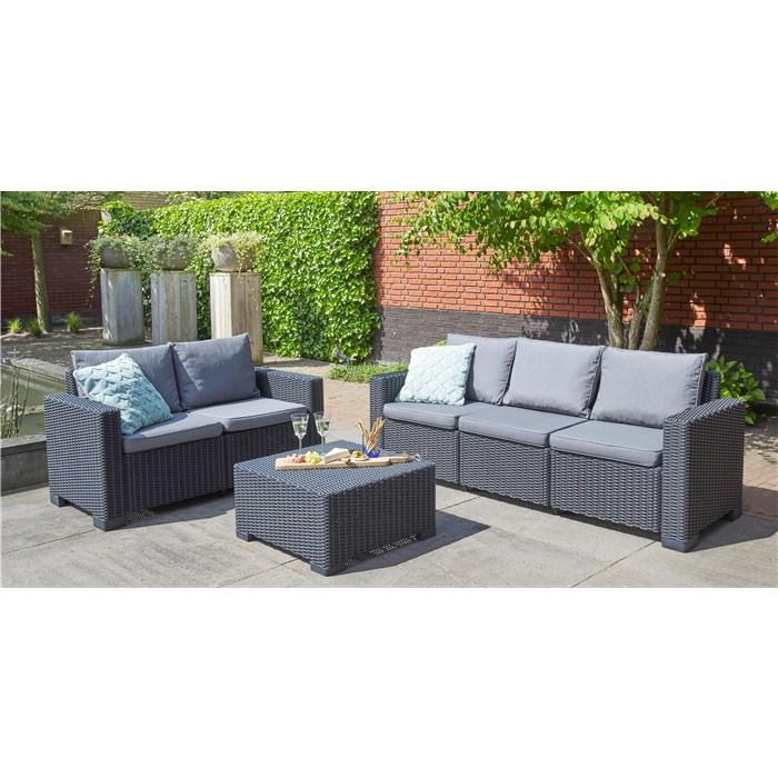 Polyrattan,5 seats sofa, black
