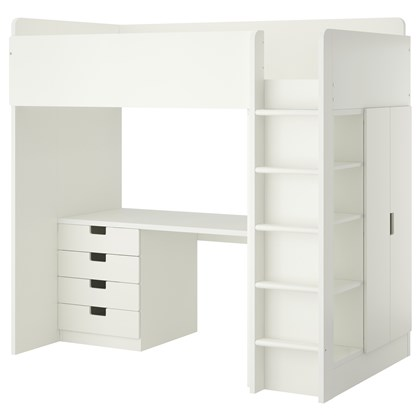 STUVA loft bed with 4 drawers and 2 doors
