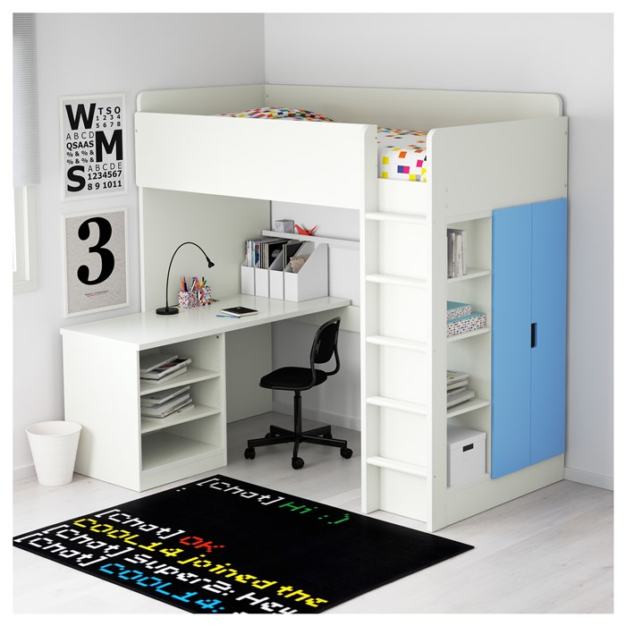 White frame - blue shelves and doors