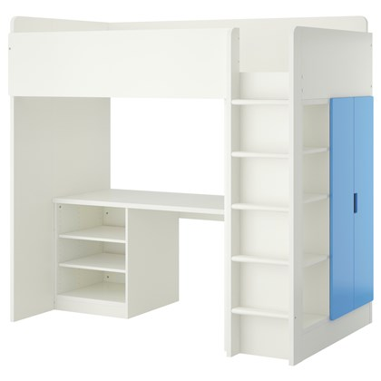 STUVA loft bed with 2 shelves and 2 doors