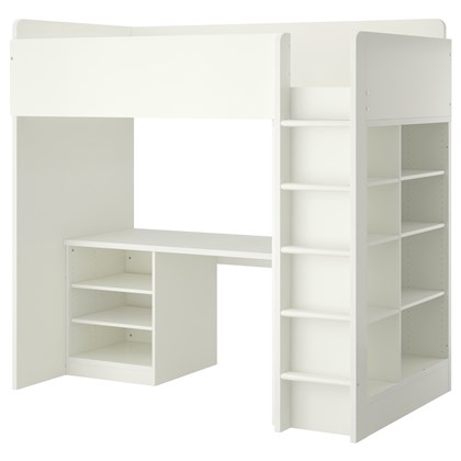 STUVA Loft bed combo with 2 shelves and 3 shelves