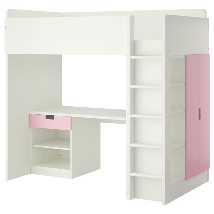 White frame - pink drawer and doors