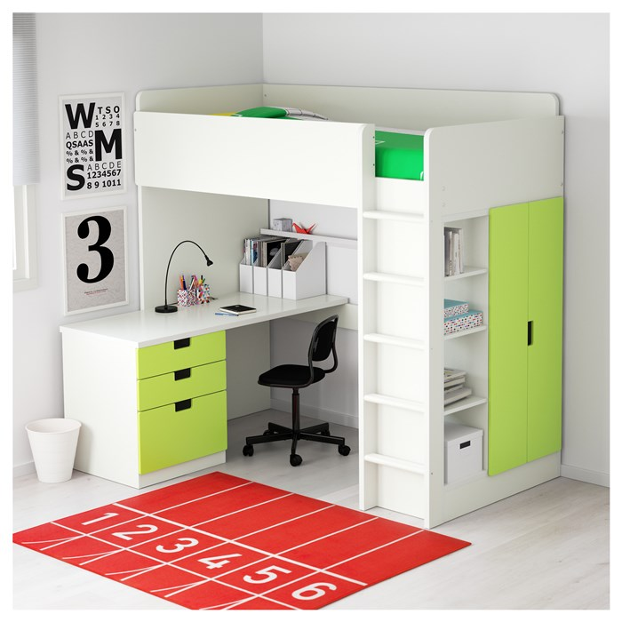 White frame - green drawers and doors
