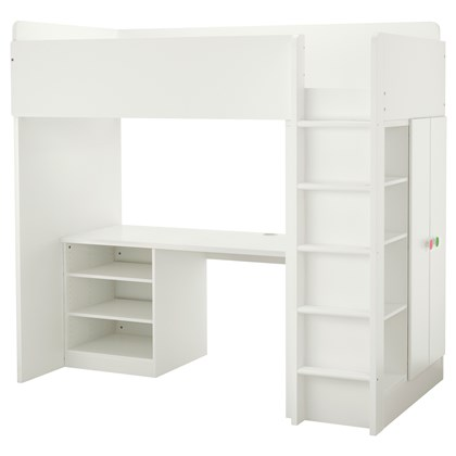 STUVA and FOLJA loft bed with 2 shelves and 2 doors