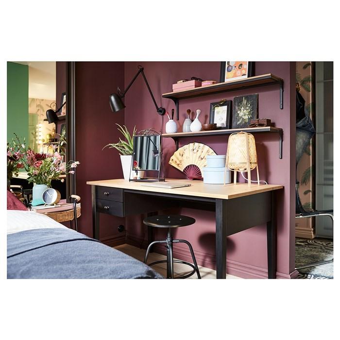 Tabletop in brown, frame in back