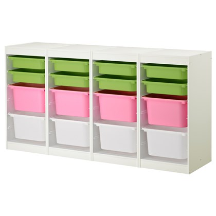 TROFAST storage combination with 16 boxes