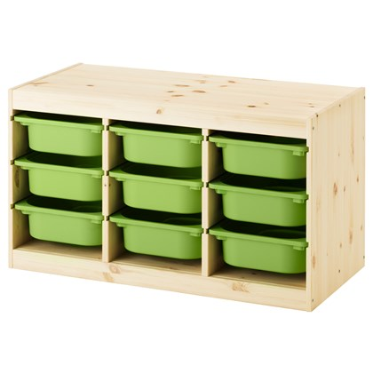 TROFAST combination with 9 boxes, solid pine