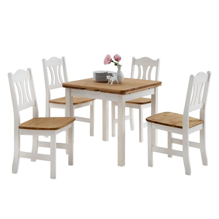 Expandable table in brown, 4 chairs in white color