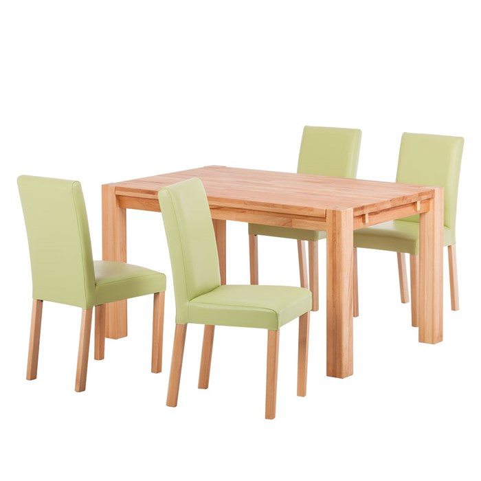 Solid beech, 1 dining table & 4 upholstered chairs