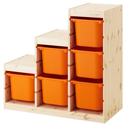 TROFAST storage combination with 6 boxes, solid pine
