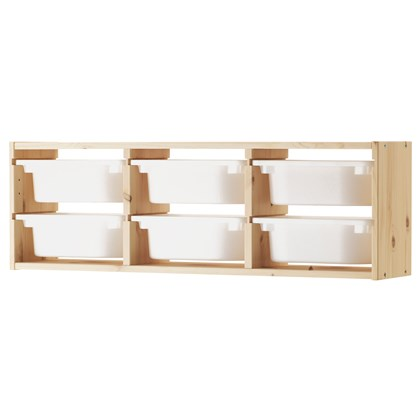 TROFAST wall storage with 6 boxes, solid pine