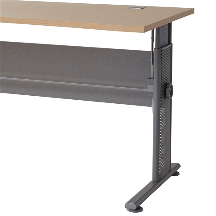 Adjustable height, tabletop in Maple brown, frame in gray