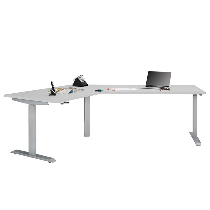 Adjustable height, tabletop and frame in gray