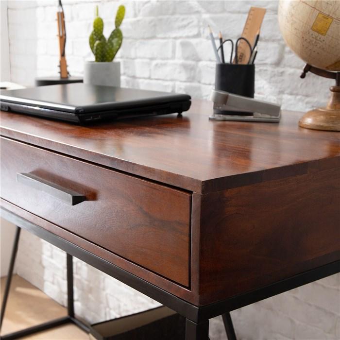 Solid wood tabletop in brown, Metal frame in black