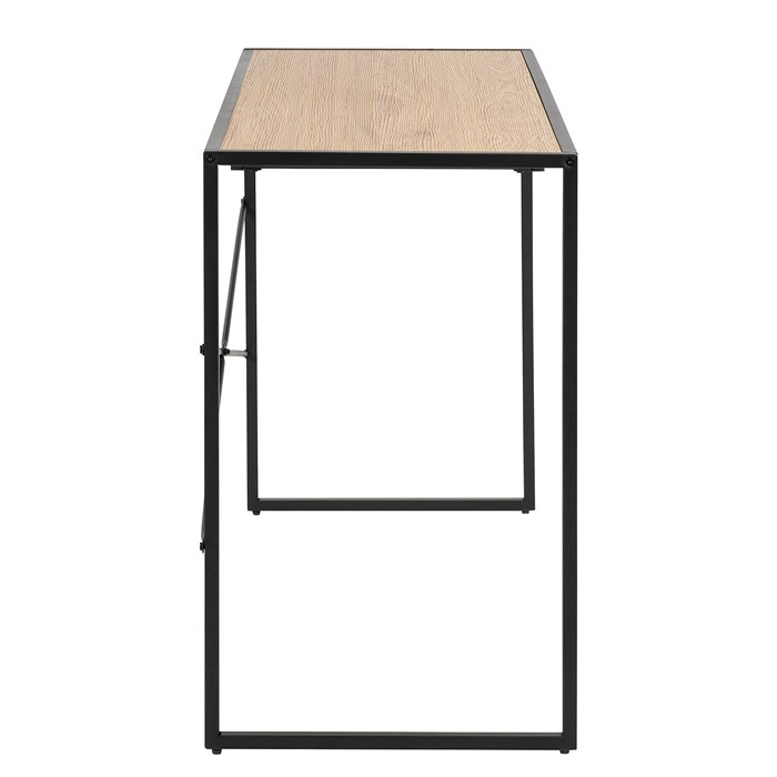 Tabletop in oak brown, metal frame in black