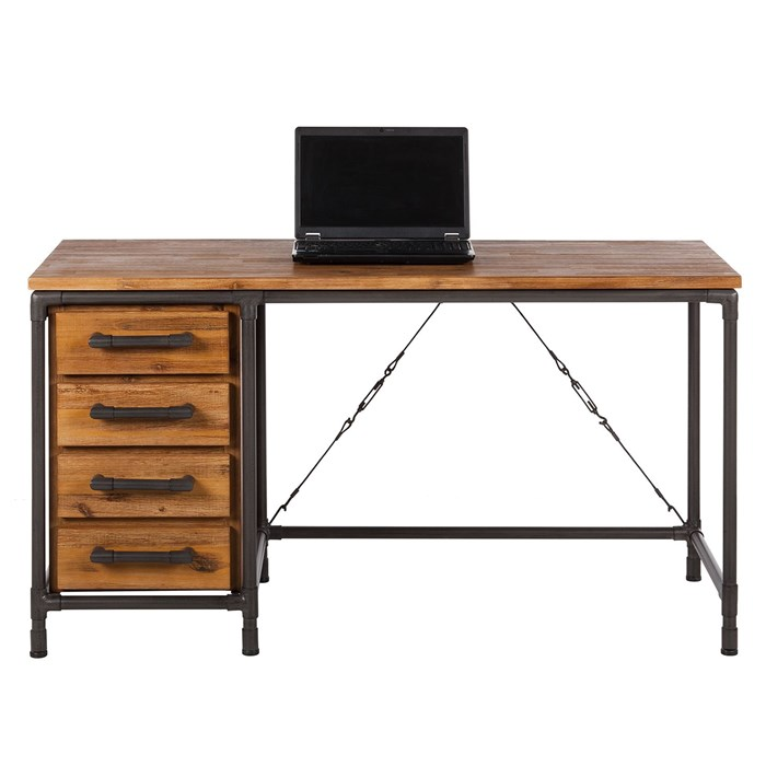 Solid wood tabletop in brown, Metal frame in black