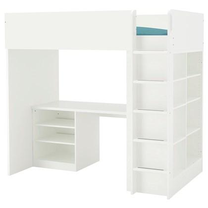 STUVA Loft bed combo with 2 shelves/3 shelves