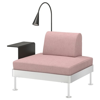 DELAKTIG Armchair with side table and lamp