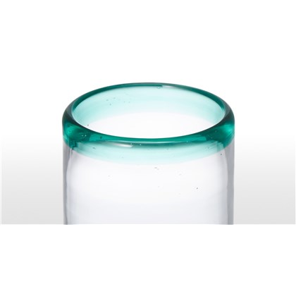 KAZAN set of 4 green rim glass highballs