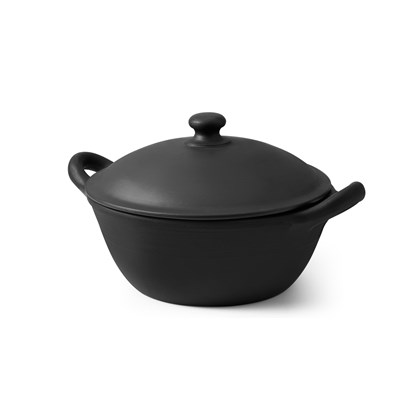 LOPPI terracotta large round lidded casserole dish