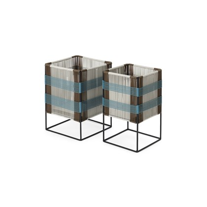 ARIBA Set Of Two Tiered Woven Square Plant Stands